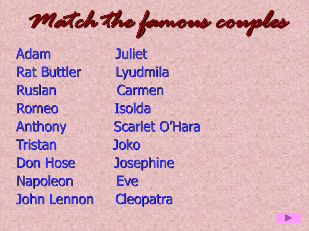 Match the famous couples