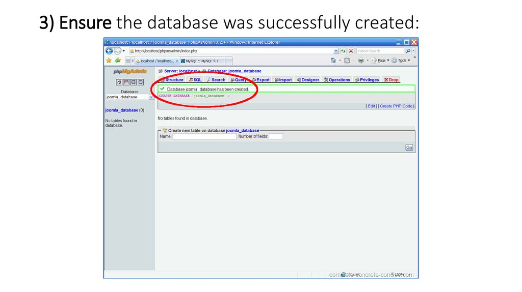 3) Ensure the database was successfully created: