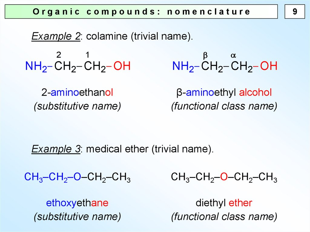 organic compounds  nomenclature