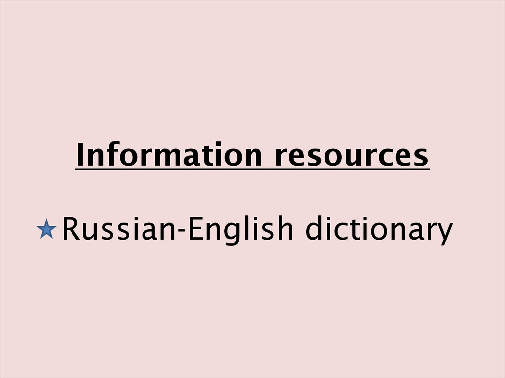 Information resources Russian-English dictionary