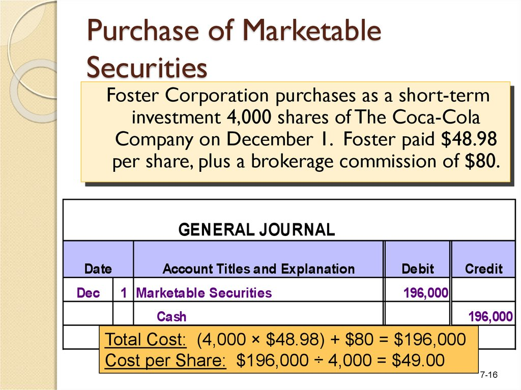 Purchase of Marketable Securities