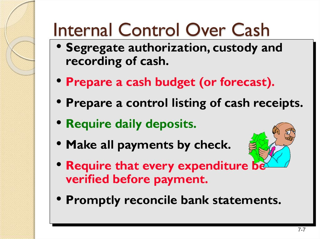 Internal Control Over Cash