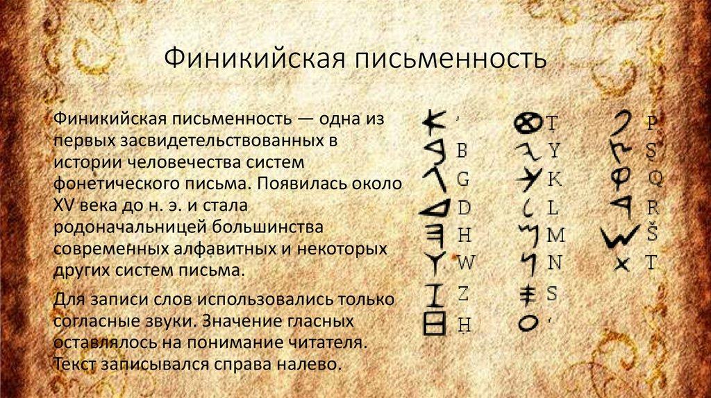 картинки финикийского письма понимала