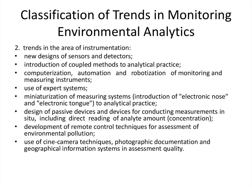 Classification of Trends in Monitoring Environmental Analytics