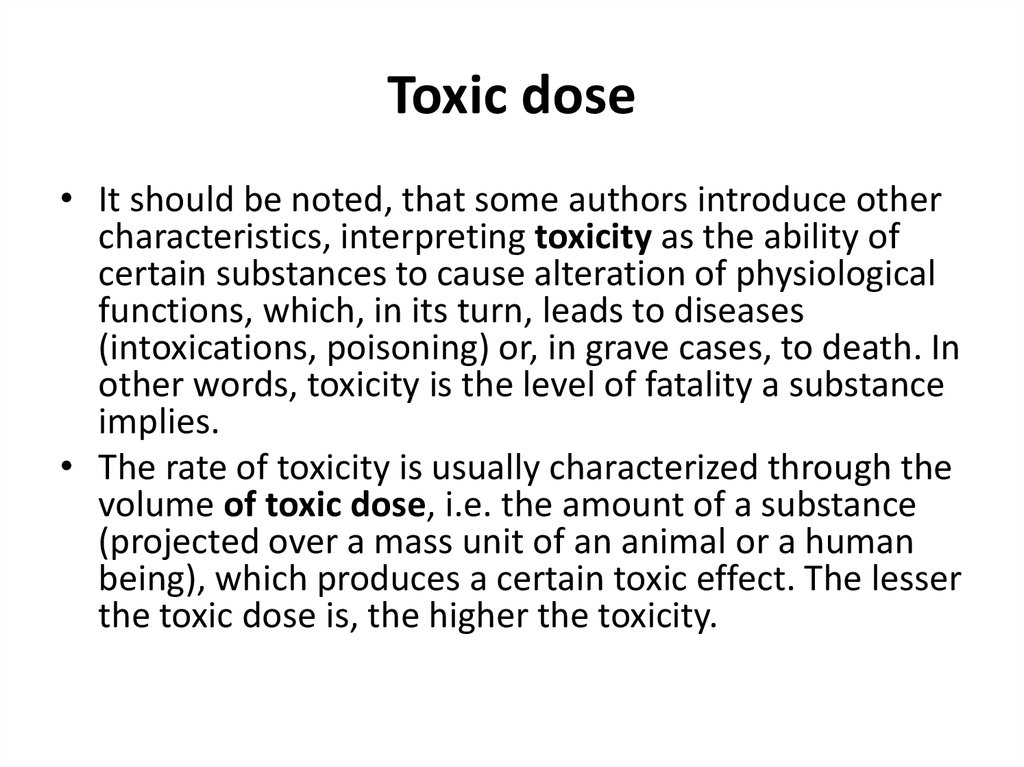 Toxic dose