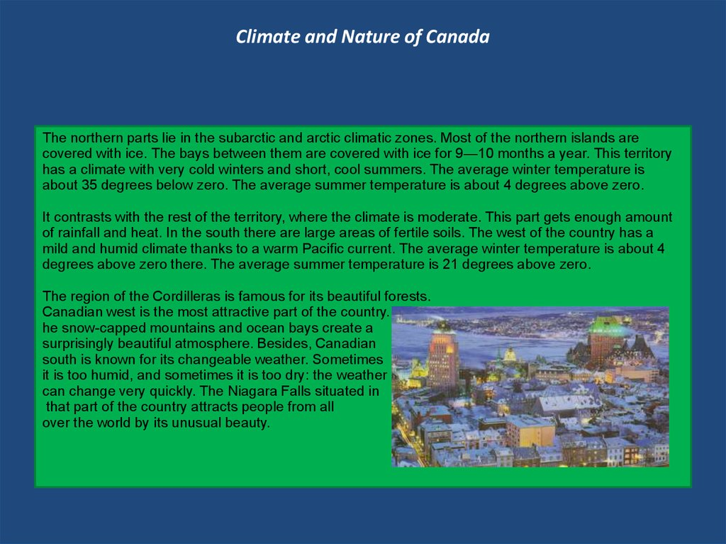 Climate and Nature of Canada