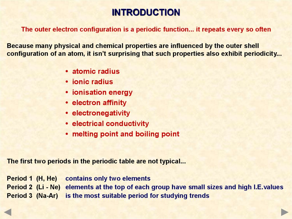 An introduction to periodicity online presentation the outer electron configuration is a periodic function it repeats every so often because many physical and chemical properties are influenced by the urtaz Choice Image
