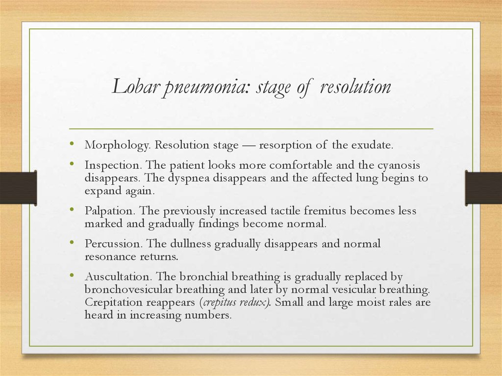 Lobar pneumonia: stage of resolution