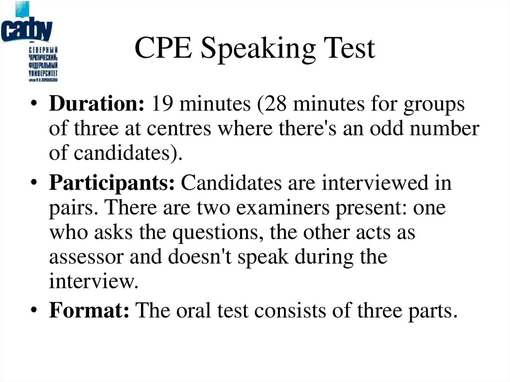 CPE Speaking Test