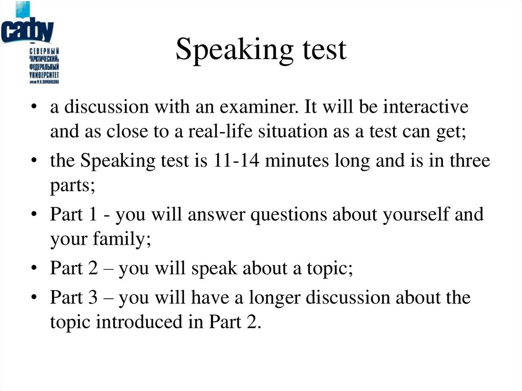Speaking test