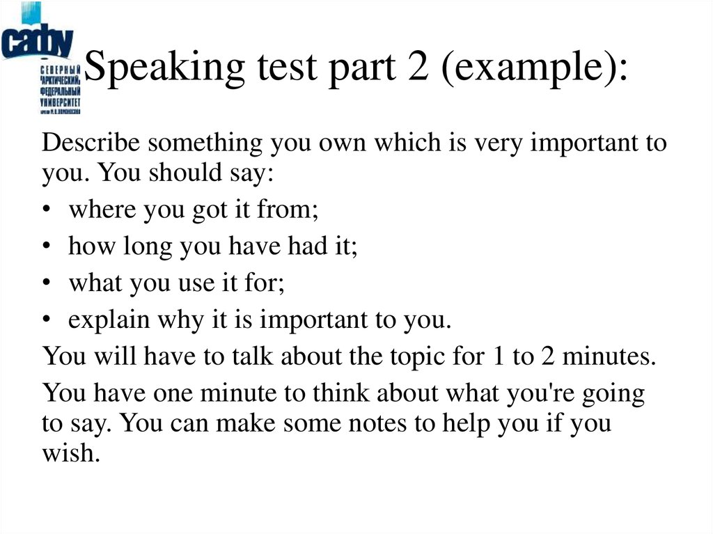 Speaking test part 2 (example):
