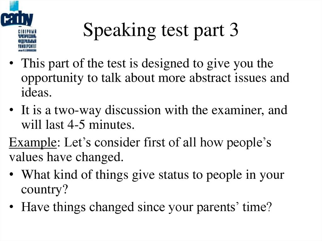 Speaking test part 3