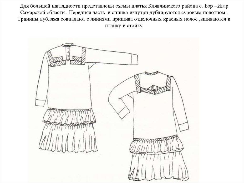 1ffc23813b29 Для большей наглядности представлены схемы платья Клявлинского района с.  Бор –Игар Самарской области .