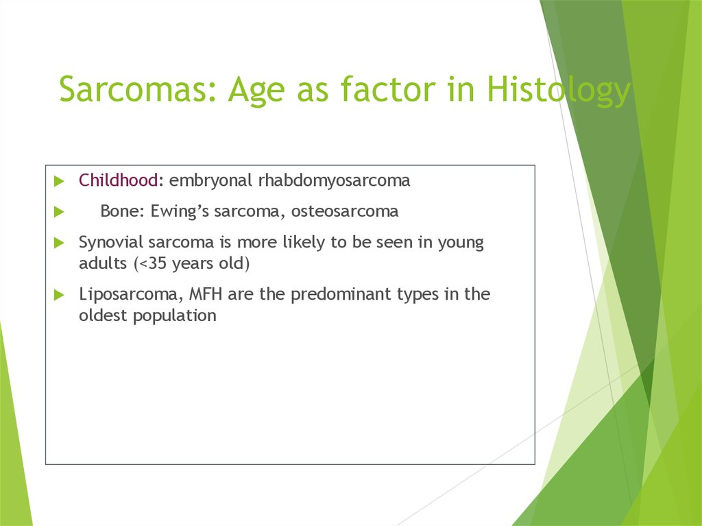 Sarcomas: Age as factor in Histology