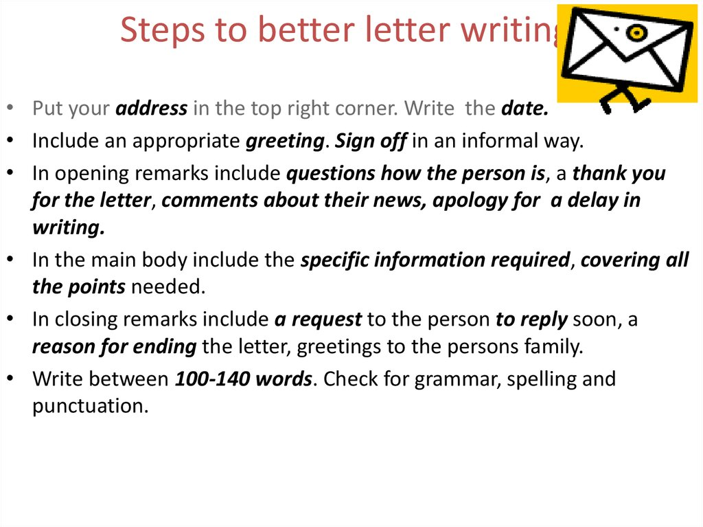 Steps to better letter writing