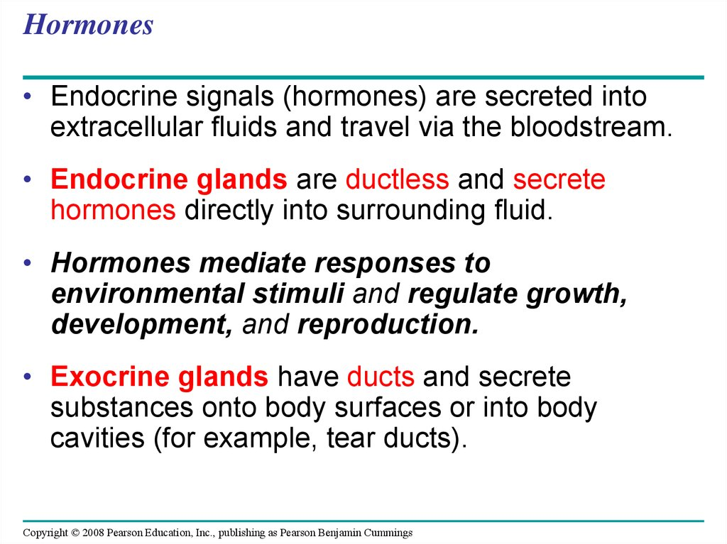 Hormones And The Endocrine System Online Presentation