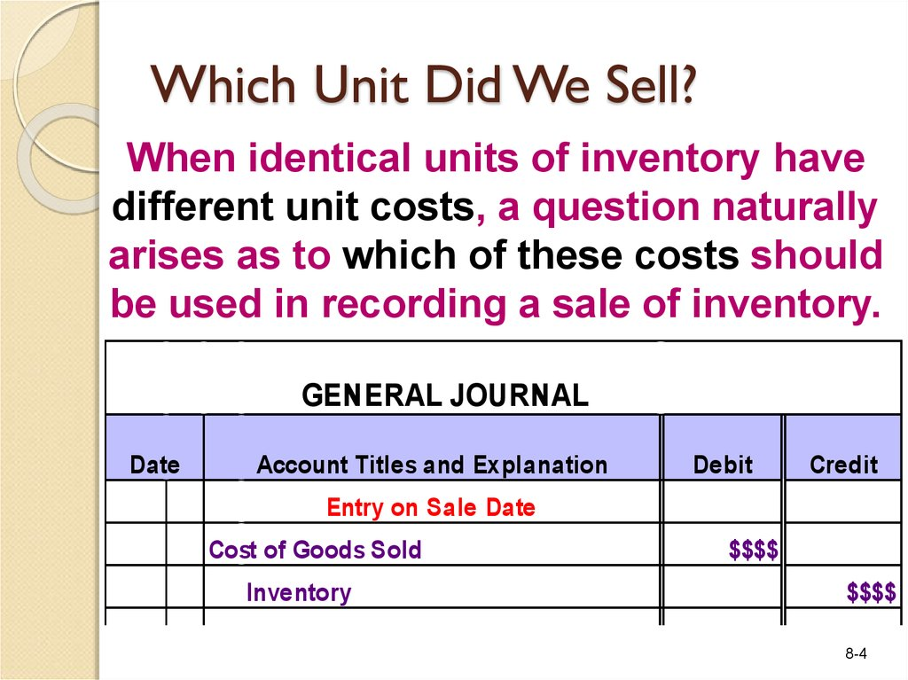 Which Unit Did We Sell?