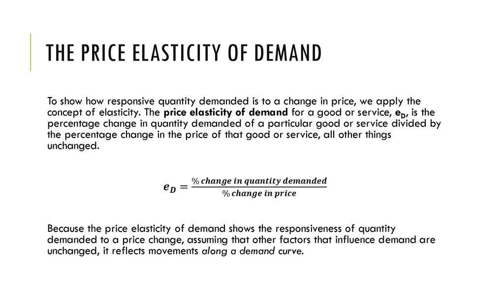 The Price Elasticity of Demand