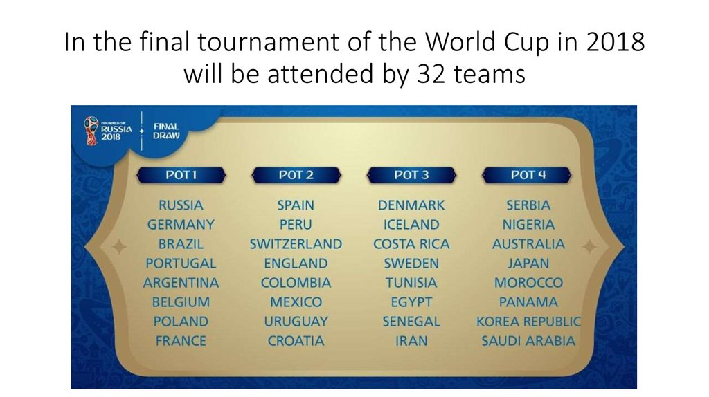 In the final tournament of the World Cup in 2018 will be attended by 32 teams