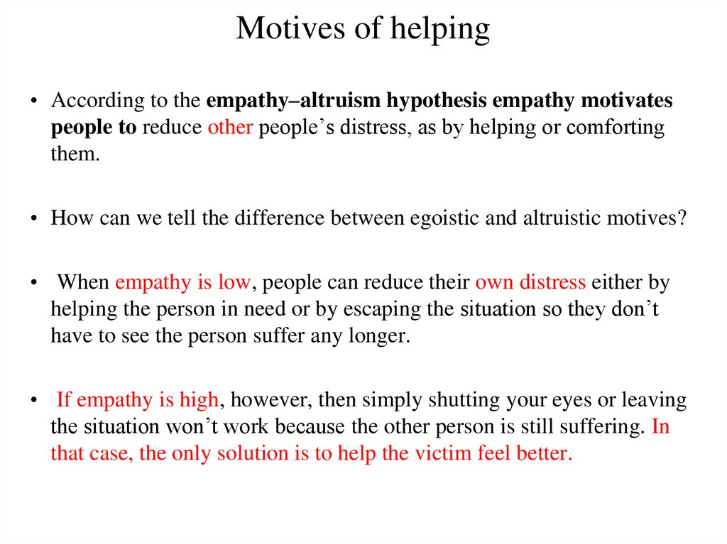 Motives of helping