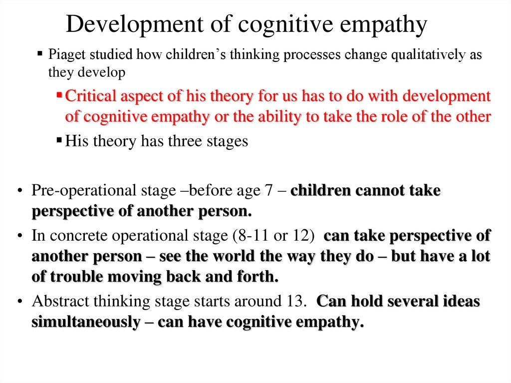 Development of cognitive empathy