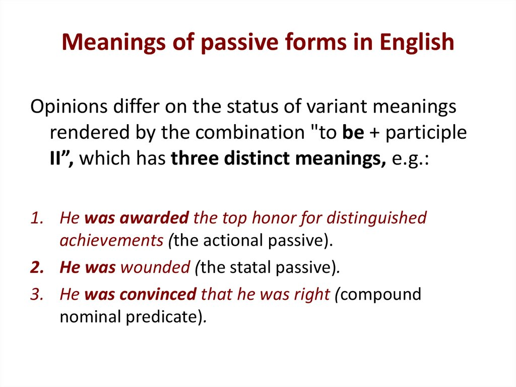 Meanings of passive forms in English