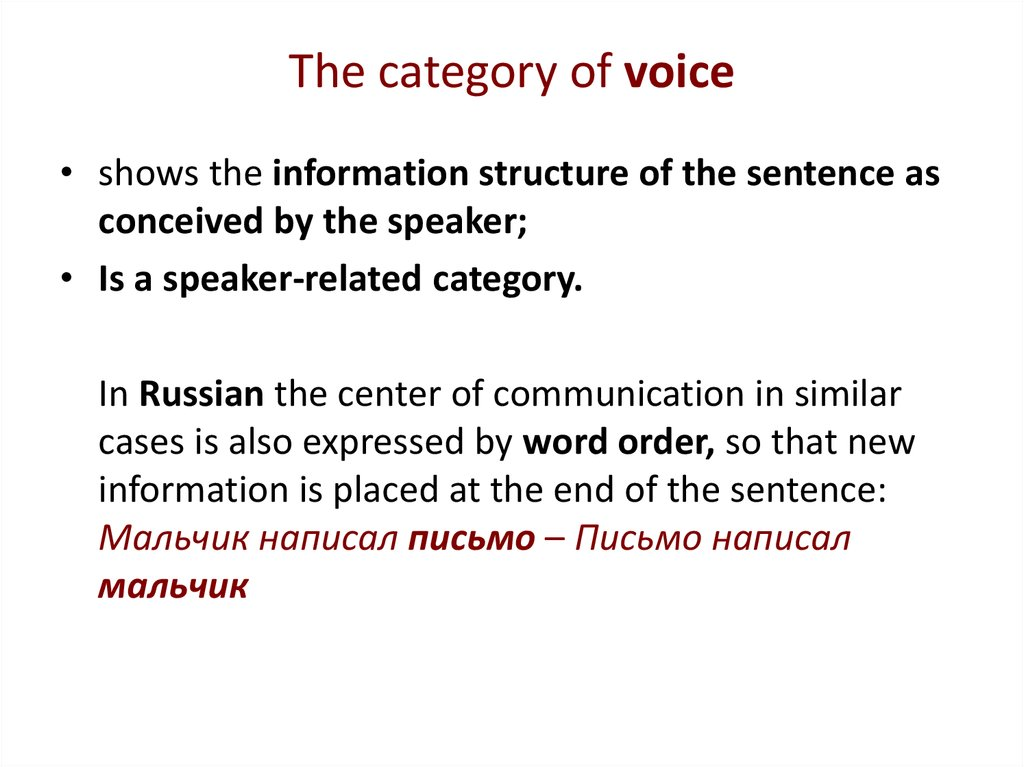 The category of voice