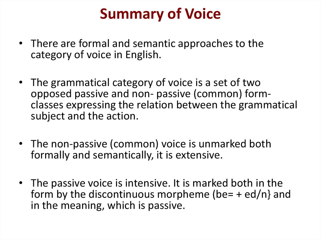 Summary of Voice
