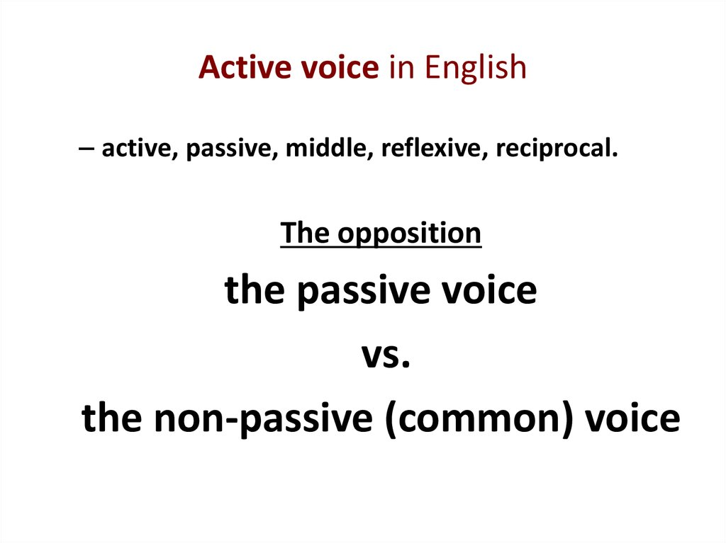 Active voice in English
