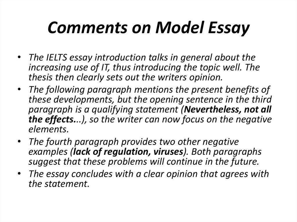 essay model Essay a classic format for compositions is the five-paragraph essay it is not the only format for writing an essay, of course, but it is a useful model for you to keep in mind, especially as you begin to develop your composition skills.