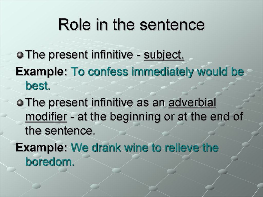 Role in the sentence