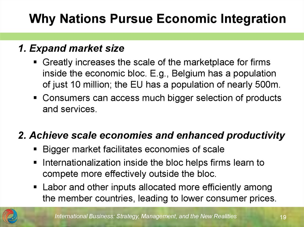 Why Nations Pursue Economic Integration