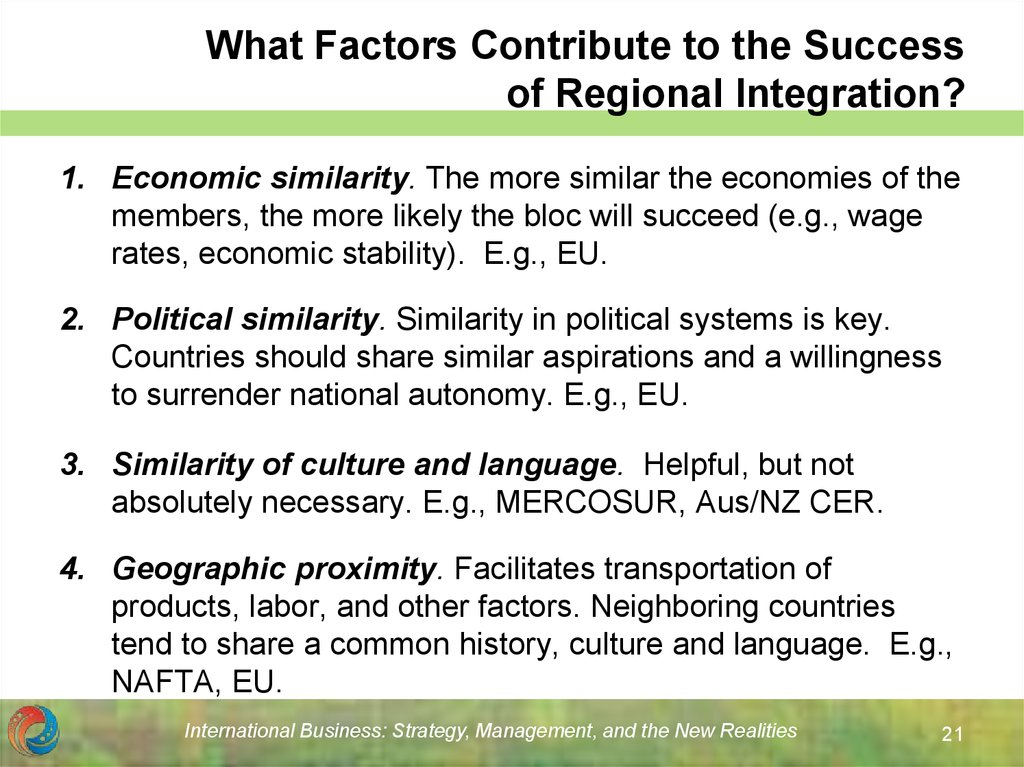 What Factors Contribute to the Success of Regional Integration?
