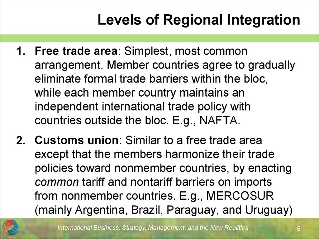 Levels of Regional Integration
