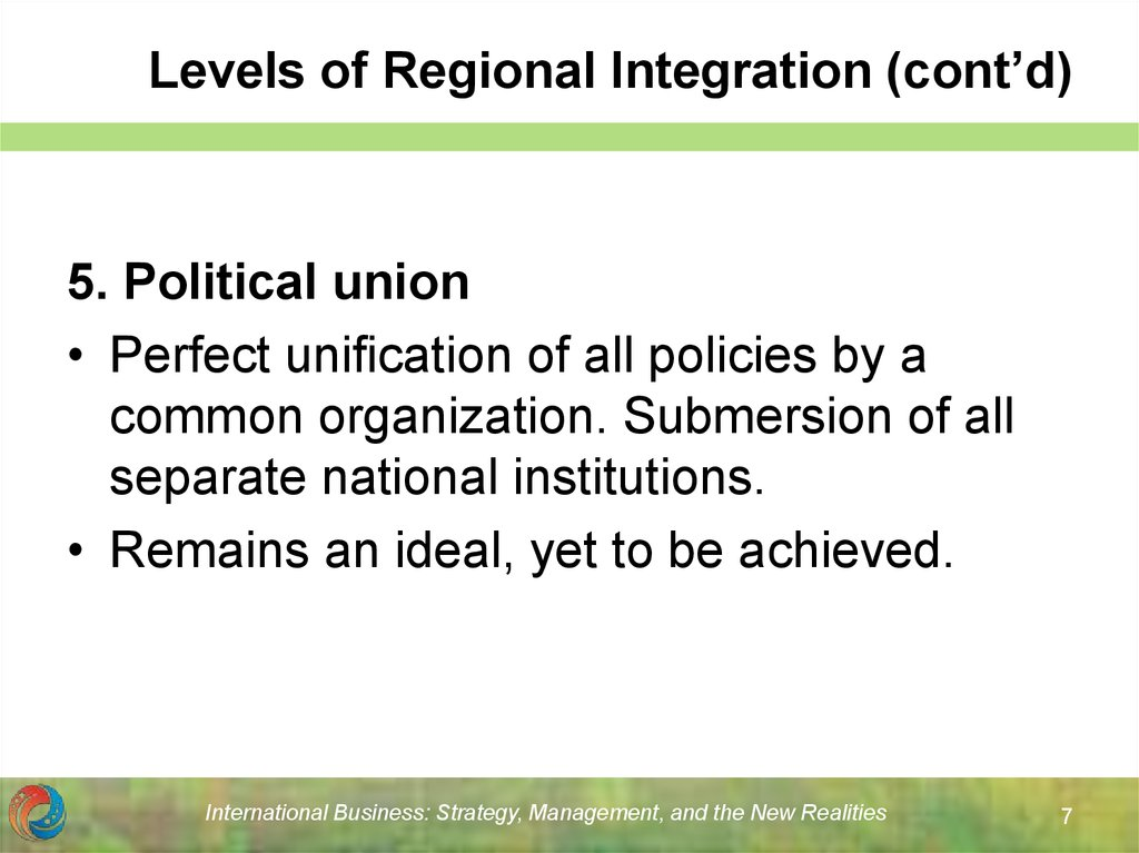 Levels of Regional Integration (cont'd)