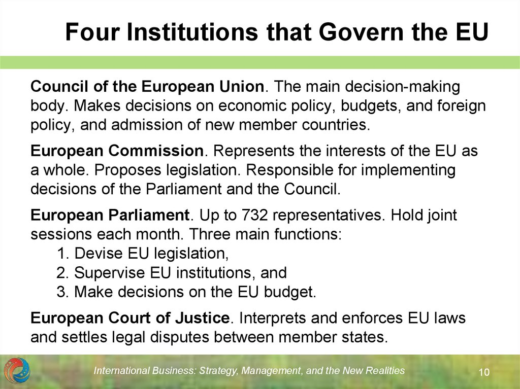 Four Institutions that Govern the EU