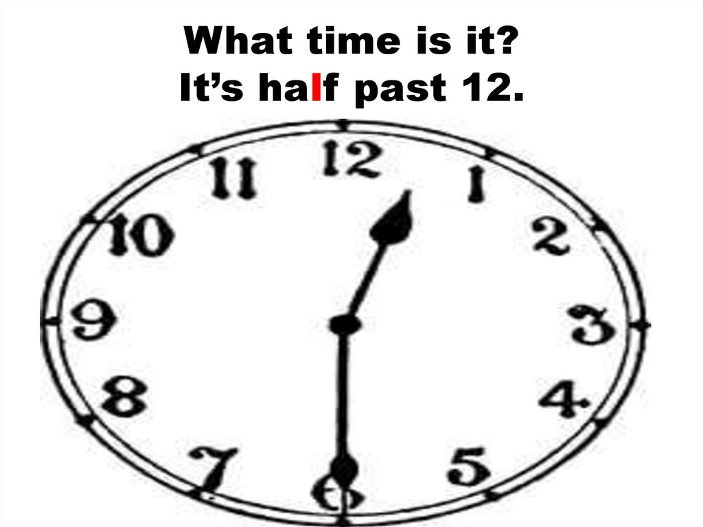 What time is it? It's half past 12.