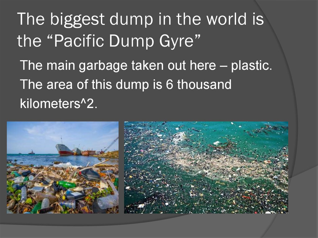 "The biggest dump in the world is the ""Pacific Dump Gyre"""