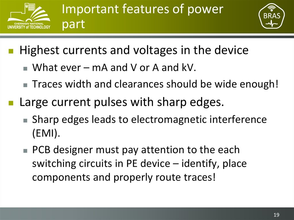 Important features of power part