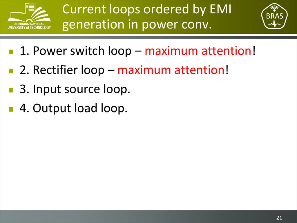 Current loops ordered by EMI generation in power conv.