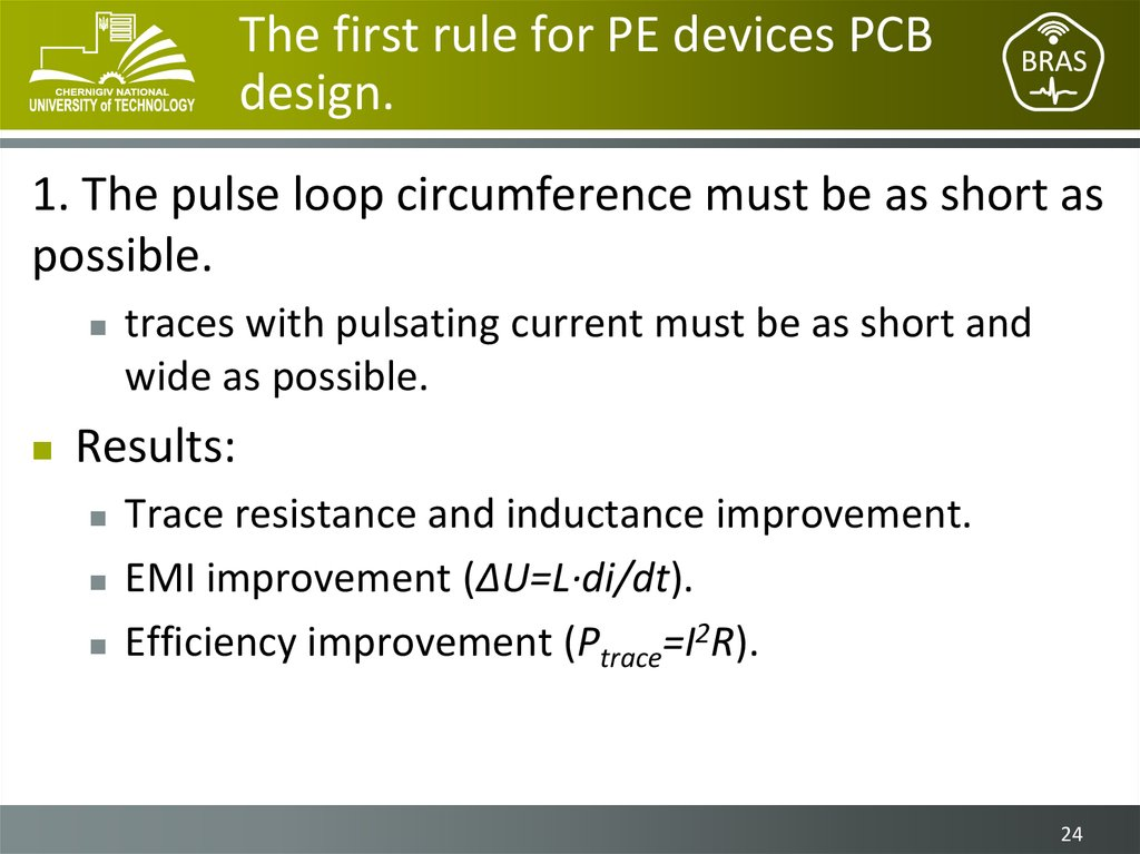 The first rule for PE devices PCB design.