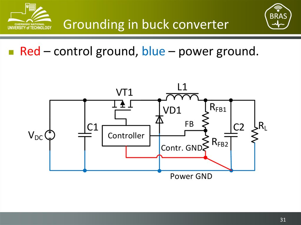 Grounding in buck converter