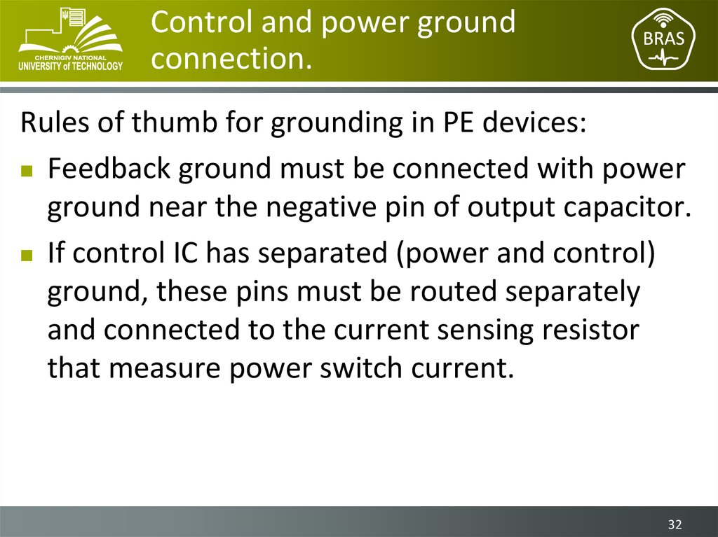 Control and power ground connection.