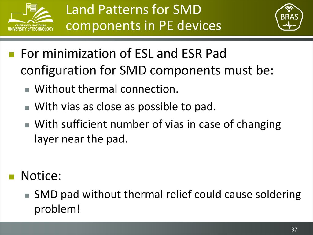 Land Patterns for SMD components in PE devices