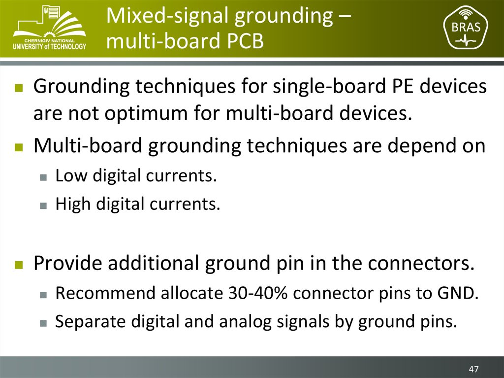 Mixed-signal grounding – multi-board PCB