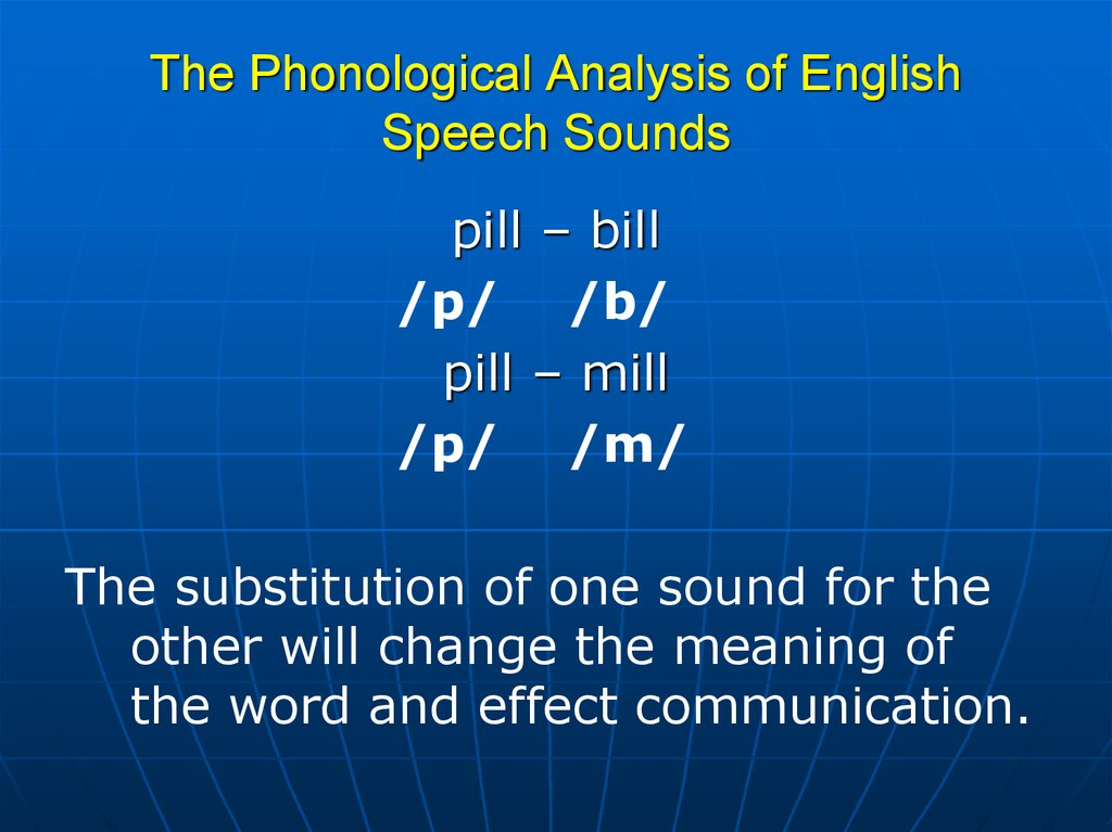 The Phonological Analysis of English Speech Sounds
