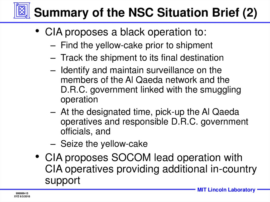 Summary of the NSC Situation Brief (2)