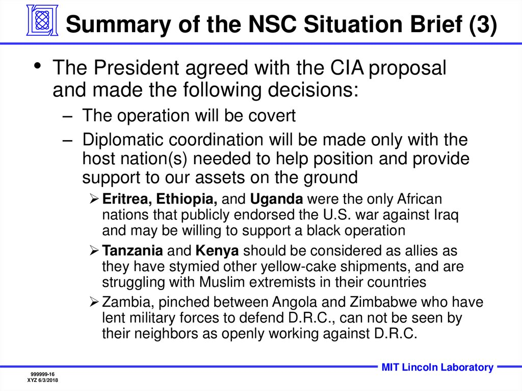 Summary of the NSC Situation Brief (3)