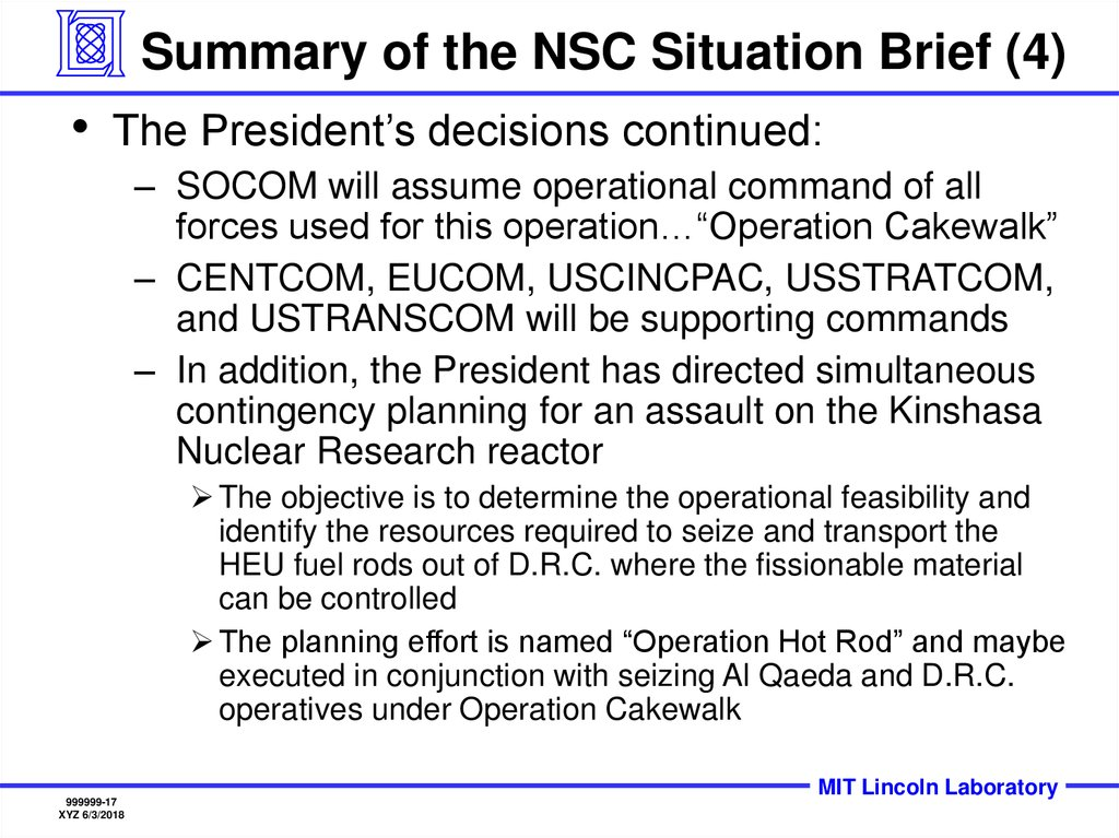 Summary of the NSC Situation Brief (4)