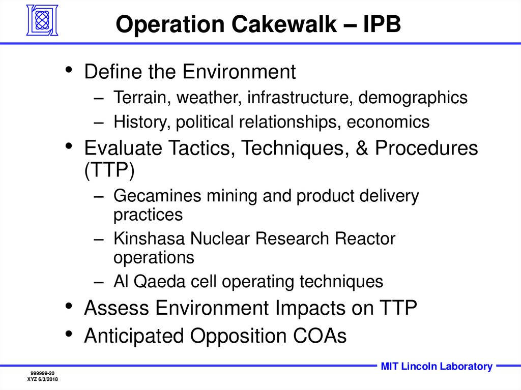 Operation Cakewalk – IPB